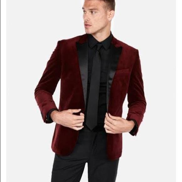 096550c88770 Express Suits & Blazers | Slim Burgundy Velvet Tuxedo Jacket Red ...